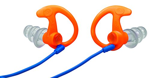 SureFire EP5 Sonic Defenders Max Full-Block Earplugs, triple flanged design, reusable, Orange, Large - Triple Block