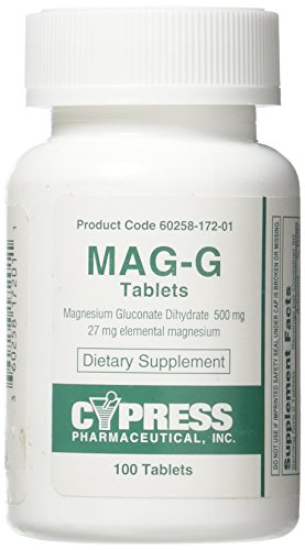 Mag-G Tablets Magnesium Gluconate Dietary Supplement 100 Tablets Per Bottle