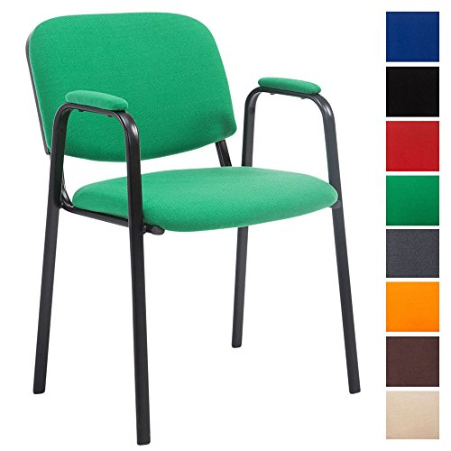CLP Silla Confidente Ken Pro Tapizada En Tela I Silla De Conferencia con Base De Metal Negro I Silla De Oficina Sin Ruedas I Color: Verde