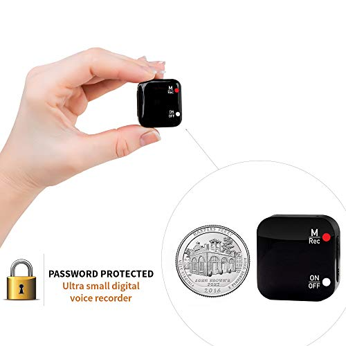 Mini Voice Recorder - Voice Activated Recording - 286 Hours Recordings Capacity - up to 24 Hours Battery Life - Password Protection - 2019 Upgrade