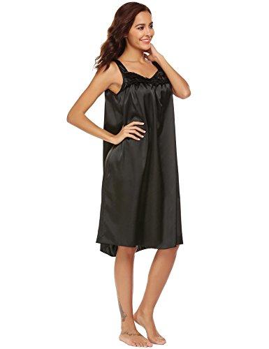 Ekouaer Mujer Ropa De Dormir Camisones Satén con Cordón Camisón Suelto Satén Negro