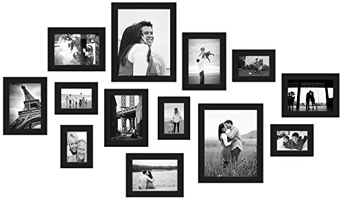 red co 13 piece gallery photo frame wall collage set real pine wood