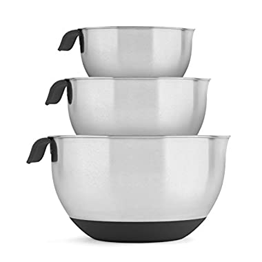 Blümwares 18/10 Stainless Steel Mixing Bowls with Handle and Spout, Set of 3 (Black)