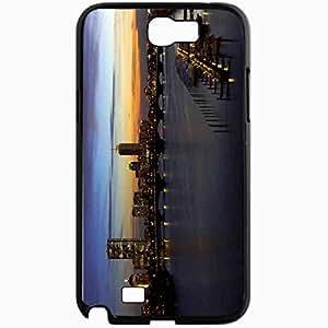 Unique Design Fashion Protective Back Cover For Samsung Galaxy Note 2 Case Home Bridge Pier Evening Black