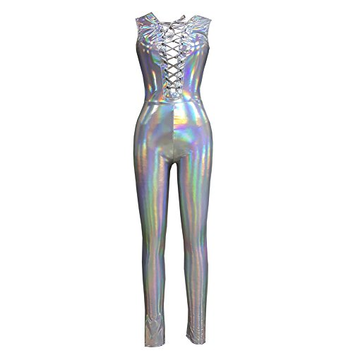 e92efe1e pinda Rave Iridescent Holographic Sleeveless Laced Up Jumpsuit Bodysuit  Catsuit (S, 8084Silver)