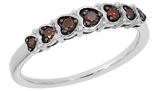 Prism Jewel 0.25 Carat Cognac Diamond Designer Anniversary Ring, White Gold Plated Silver, Size - Prism Flowers