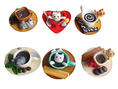 6 Pcs 3D Cute Cartoon Coffee Cup Resin Refrigerator Magnets Afternoon Tea Magnets Animal Cats Fridge Magnets Dessert Chocolate Biscuit Candy Kitchen Magnets for Toddlers Kids Babies Home Decoration