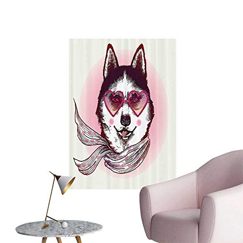 T-shi Dog - Wall Painting Hipster Husky Dog with Heart Shaped Sunglasses and Scarf shi Animal High-Definition Design,12