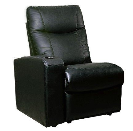 Leather Home Theater Extension Sofa (Showtime Collection Black Leather Home Theater Extension Sofa Seat)