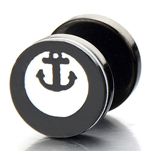10MM Ancre Cercle Noir - Boucles d'oreilles Faux Homme - Jauge d'oreille Faux Cheater Fake - Acier Inoxydable