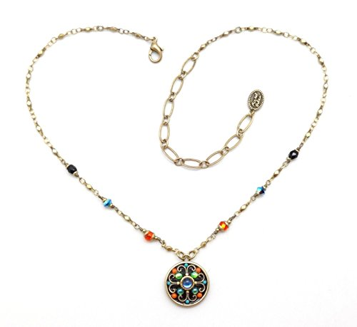 Michal Golan Kaleidoscope Multi Color Glass Enamel & Crystal Goldtone Necklace