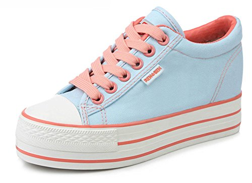 Aisun Damen Basic Canvas Unsichtbar Erhöht Low Top Schnürsenkel Fashion Sneakers Hellblau(Orange)