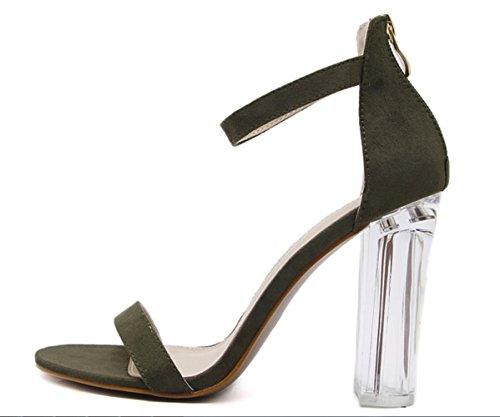 Sandales Hauts Nouveaux Green Daim Chaussures Summer Femmes Casual En Simples Transparent Mode Xdgg De Talons 4CSpnwwq