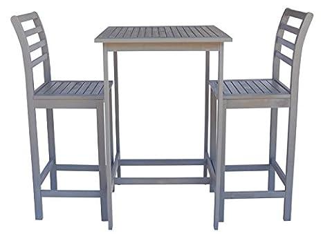 Zen Garden ZG014 Eucalyptus 3-Piece Bar Set with Bar Table and 2 Bar Chairs, Dark Grey Wood Finish