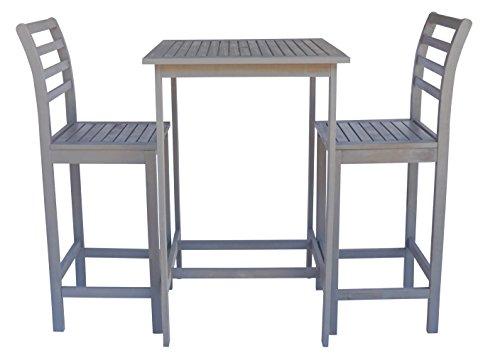 Eucalyptus Bar Chair - Zen Garden ZG014 Eucalyptus 3-Piece Bar Set with Bar Table and 2 Bar Chairs, Dark Grey Wood Finish
