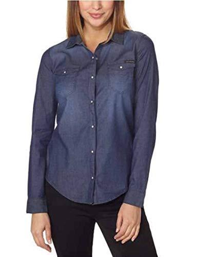 Calvin Klein Jeans Women's Snap Btton Denim Shirt, Rinse (Small)