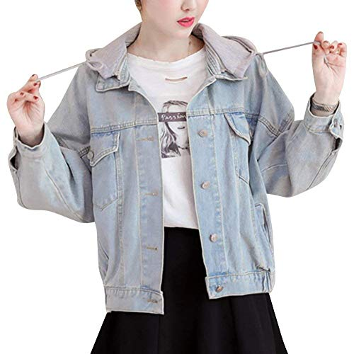 Encapuchado Larga Jacket De Jeans Vaqueras Hell Abrigo Señora Manga Elegantes Coat Botón Chaqueta Blau Denim Otoño Anchas Moda Outerwear Primavera Mujer ICXAnnqxw