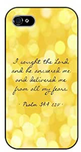 For SamSung Galaxy S4 Case Cover Bible Verse - I sought the Lord and he answered me. Psalm 34:4 - black plastic case / Verses, Inspirational and Motivational