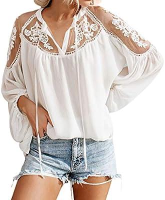 Blusas Tops Mujer Fiesta Sexy, 🌻MINXINWY 2019 Moda Tops de Encaje Elegante Camisas Mujer Manga Larga Top de Malla Sexy Camisa de Gasa Top Blanco y Negro en Color Liso: Amazon.es: Deportes