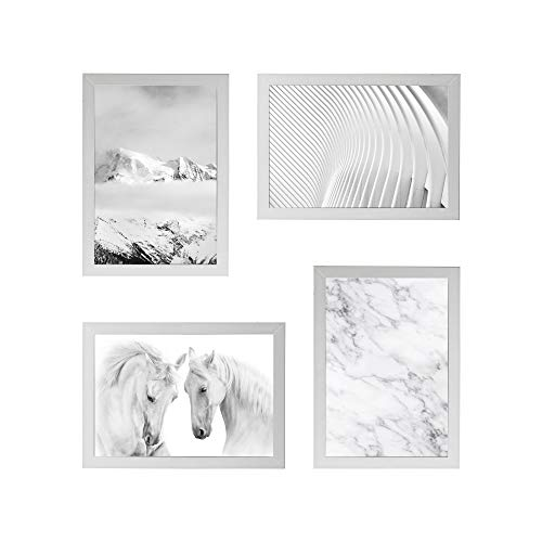 Conjunto Quadros Decorativos Cavalos Off White Moldura Branca 58x58cm - Prolab Gift