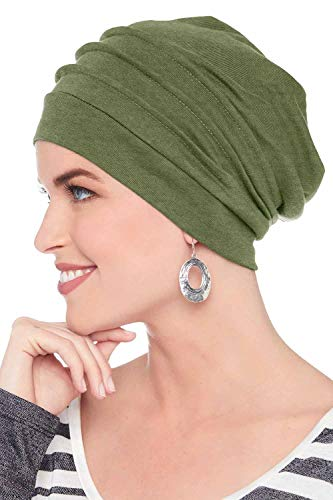 Headcovers Unlimited Slouchy Snood-Caps for Women with Chemo Cancer Hair Loss Olive Heather (Best Hats For Cancer Patients)