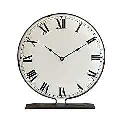 Creative Co-op Round Metal Freestanding Clock with Black Base