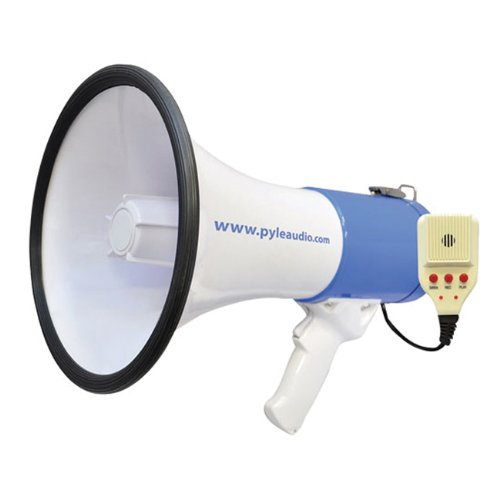 PyleHome 50 Watt Professional Rechargeable Megaphone Piezo Dynamic Lithium Battery Record Siren Talk Modes And Aux-Input For All iPod MP3 Players