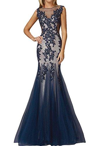 Abendkleider Dunkelblau Ivydressing Rundkragen Damen Elegant Promkleider Mermaid Lang Spitzenkleider xx1tn8