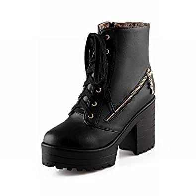Women's Charm Ankle--high High-heel Chunky Platform Lace-up Martin Bootszippers Decoration