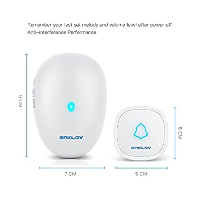 Wireless Doorbell - ENKLOV Plug In Door Bell Chimes Kit