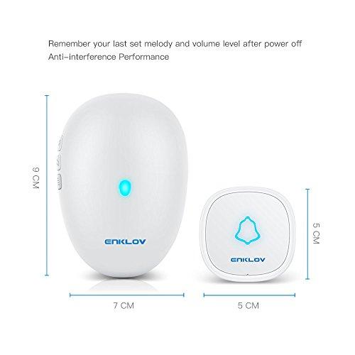[해외]Wireless Doorbell - IPX4 방수 터치 푸시 버튼, 100 미터 작동 범위, 30 개 이상의 Chime Melodies Cho와 함께 도어 벨 차임 키트의 ENKLOV 플러그/Wireless Doorb