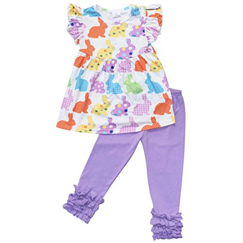 Unique Baby Girls Funky Easter Bunny Easter Outfit (7/XXL, Purple)