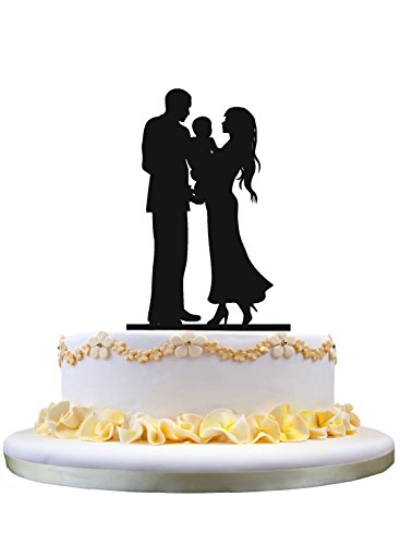 Wedding Cake Topper Silhouette Bride &Groom with a baby