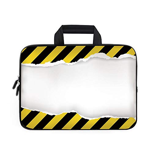Construction Laptop Carrying Bag Sleeve,Neoprene Sleeve Case/Ripped Paper with Construction Sign Safety Warning Alert Framework Decorative/for Apple Macbook Air Samsung Google Acer HP DELL Lenovo Asus