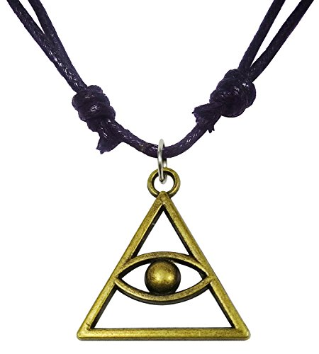 Bijoux De Ja Antique Bronze Eye of God Triangle Charm Pendant Adjustable Thread Necklace