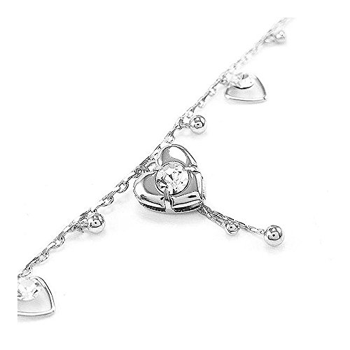 Glamorousky Elegant Heart Anklet with Silver Austrian Element Crystals (23742)