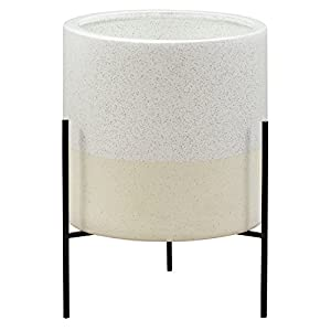 Rivet Mid-Century Ceramic Planter with Stand, 17