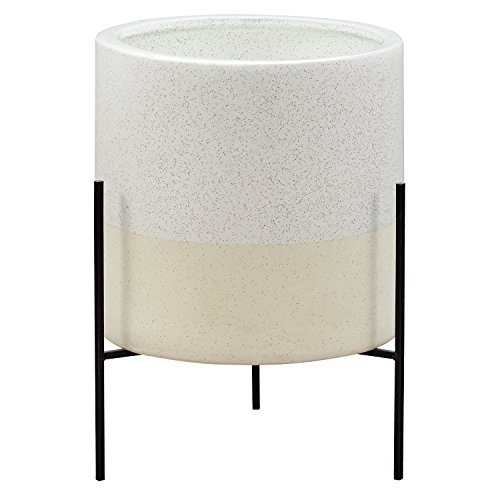 (Rivet Mid-Century Modern Ceramic Indoor Outdoor Planter Flower Pot with Iron Stand - Large, White)
