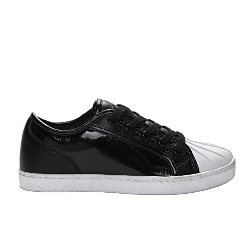 Sneakers Moda Unisex Pasticceria - Lucida, Stile Praline Parigino, Bianco E Nero Nero / Bianco