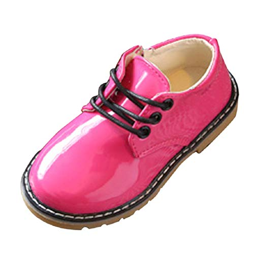 Toddler Kids Girls School Uniform Flat Shoes British Style Patent Leather Lace up Dress Oxfords (1-3.5Y) by Lowprofile Hot Pink