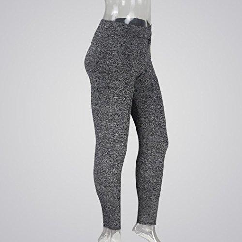 Sport Yoga fonc de S Taille Gaine Mamum Pilates Gym Gris Legging large fonc Pantalon Haute Fitness Gris Femme xwIFHqFX