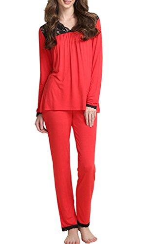 a lunghe casa jogging salotto confortevole maniche set stile da traspirante vestiti pigiama red Moda pigiama Eq1wITx