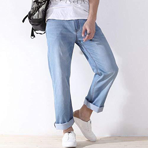 Uomo Ssige Allentato Cowboy Pantaloni Comodo Piedino Denim Jeans Di Del Epoca T Hellblau Modo Per Rigonfio Battercake Da Diritti Y5Afq