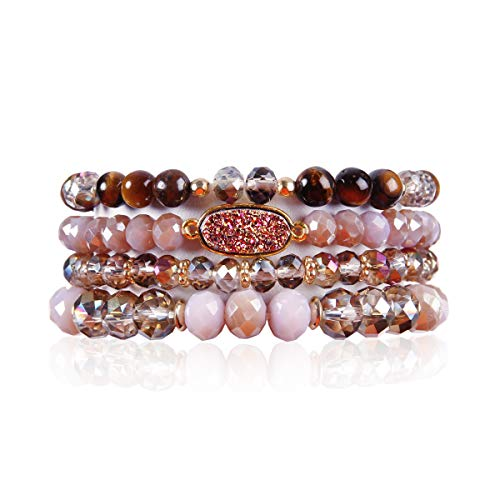 (RIAH FASHION Bead Multi Layer Versatile Statement Bracelets - Stackable Beaded Strand Stretch Bangles Sparkly Crystal, Faux Druzy, Pave Fireball (Oval Acrylic Druzy - Purple))