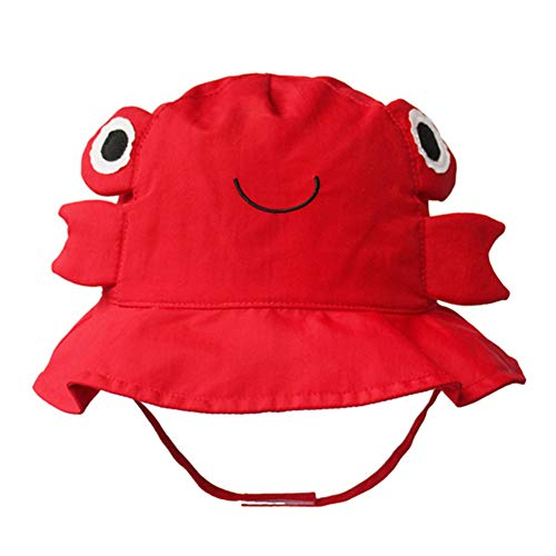 Cotton Breathable Animal Anti UV Sun Protection Bucket Hat with Chin Strap Outdoor Cap for Kids Baby Toddlers Girls/Boys-Red -