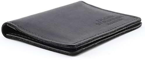 Top Grain Leather Slim Card Holder Wallet - Thin Minimalist Design,Made In USA