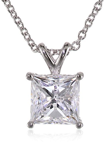 Platinum-Plated Sterling Silver Princess-Cut Solitaire Pendant Necklace made with Swarovski Zirconia (7.5 mm), 18