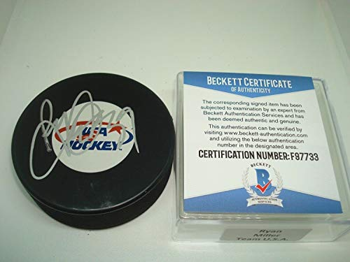 Ryan Miller Autographed Signed Memorabilia Team U.S.A. Hockey Puck Autographed Signed Memorabilia - Beckett Authentic