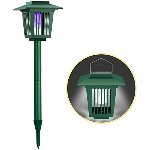 Needobi Solar Insect Zapepr Bug Killer, Electronic Mosquito Zapper -2 Modes Insect Mosquito Worm Killer - Stake in Ground Pathway Garden LED Lamp- Stinger for Mosquitoes/Moths/Flies (Green)