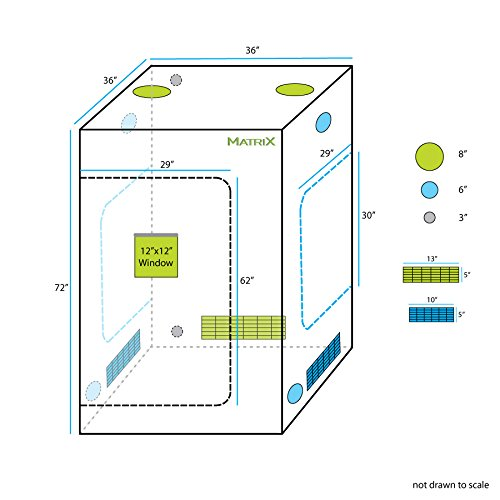 "41EQXsd7x8L - Matrix Horticulture 36""x36""x72"" Grow Tent Diamond Mylar 600D Hydroponic Growing Room Box for Indoor Plants Observation Window Arch Door D Design 3'x3'"